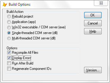 [VFP Project Manager settings to build a DLL]